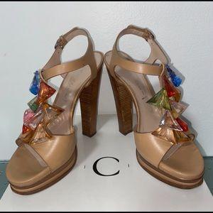 Casadei RARE Jeweled Leather Platform Sandals 37.5